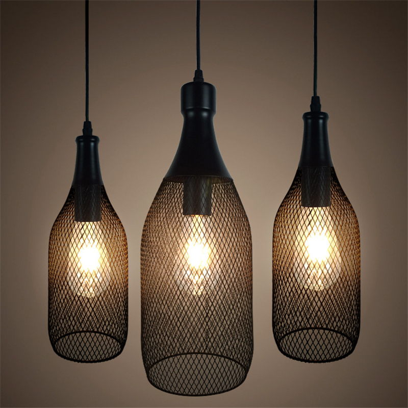 Loft Vintage bottle net Pendant Lamp E27 Holder Iron Cage network Pendant Light for Restaurant Bar Counter Attic Bookstore loft style vintage pendant lamp iron industrial retro pendant lamps restaurant bar counter hanging chandeliers cafe room