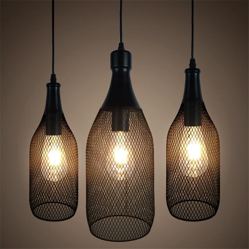 Loft Vintage bottle net Pendant Lamp E27 Holder Iron Cage network Pendant Light for Restaurant Bar Counter Attic Bookstore