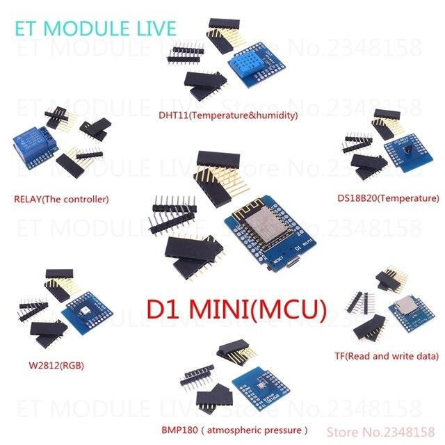 D1 мини V2-Мини NodeMcu (7 В 1) D1 Мини + DS18B20 + WS2812 + 1 канал реле + BMP180 + DHT11 + TF Карта