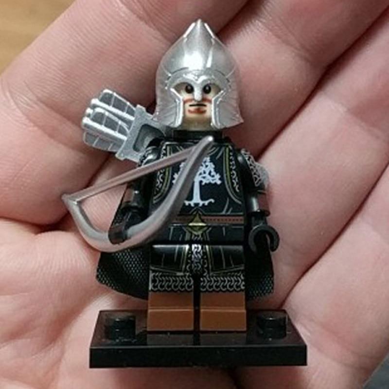Single Medieval Knight Heavy Infantry Action Figures Soldier Of Gondor Spear Archer Sword Model Building Blocks Bricks Toys