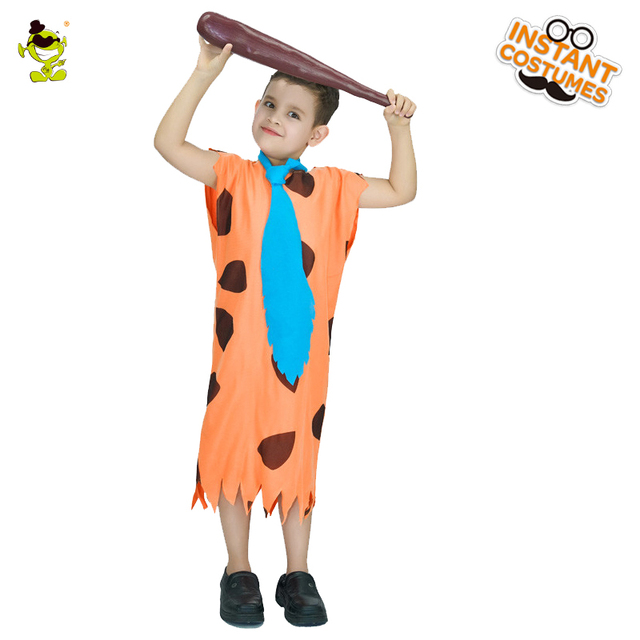 Fred Flintstone Costumes Boys 1960s Caveman Role Play Outfits Children  Halloween Party Ancient People Cosplay Fancy