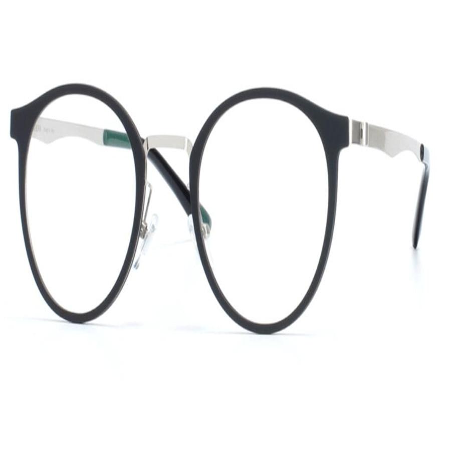 Modest Mongoten Round Frame Unisex Fashion Alloy Full Rim Prescription Lens Optical Eyewear Frame Silver Ultralight Reading Eyeglasses Non-Ironing Apparel Accessories