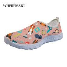 WHEREISART 3D Veterinary Surgeon Pattern Flats Women Shoes Summer Fashion Comfortable Air Mesh Ladies Sneakers Woman 2019