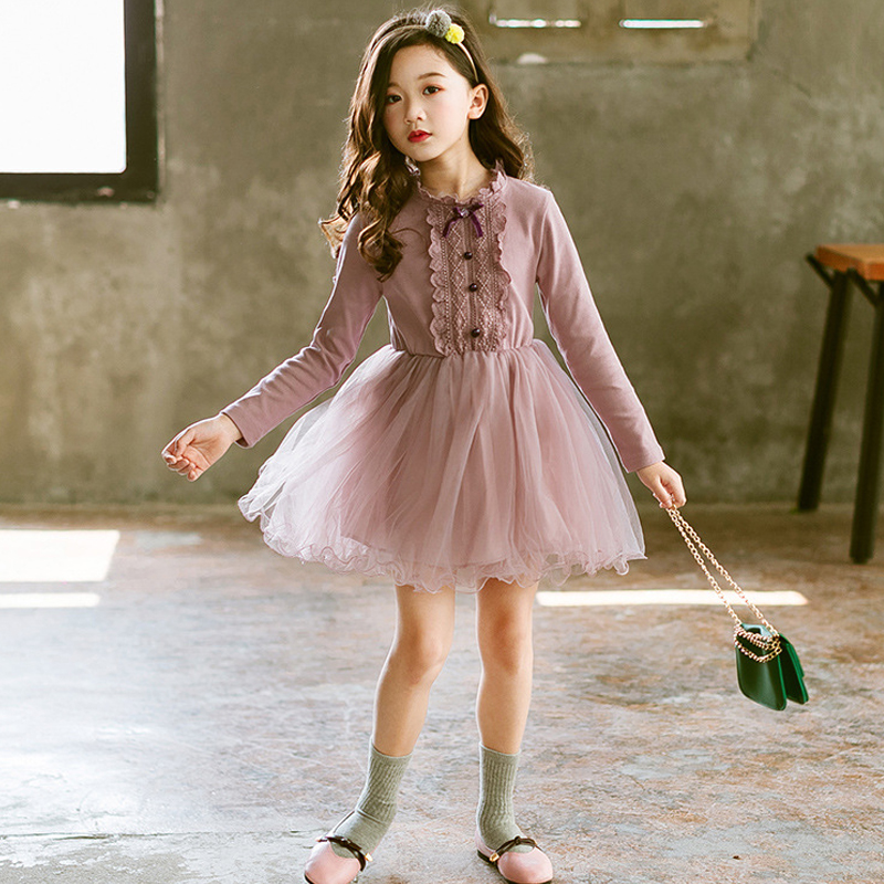цена kids party dress elegant princess dresses autumn 2018 baby girl long sleeve clothes teen dress for children girls robe fille