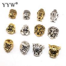 YYW 20pcs Wholesale leopard lion Buddha Head Tibetan Silver Animal Beads For charm Jewelry Making European Spacer Handmade