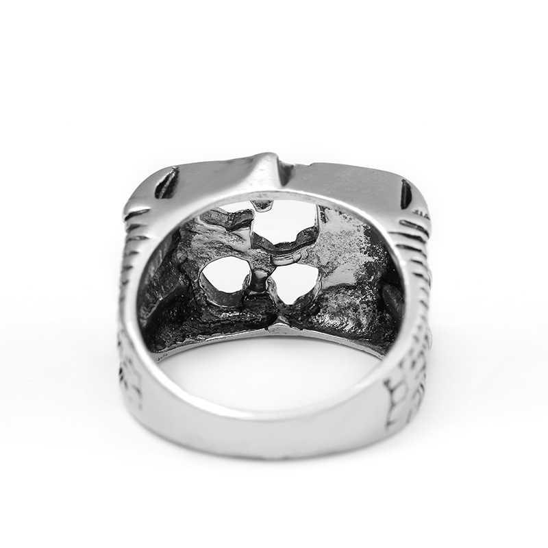 ล่าสุดแฟชั่นผู้ชายBoyโชคดีจำนวน13 Bikerแหวนสีดำเคลือบวินเทจผู้ชายเย็นBikerแหวนในฮอลโลว์จำนวน13