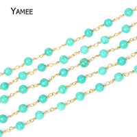 5Meters Green Colour Jades Round Beads Pure Copper Chain Rosary Chains Tone Wire Wrapped Necklace Fashion Bracelet Making