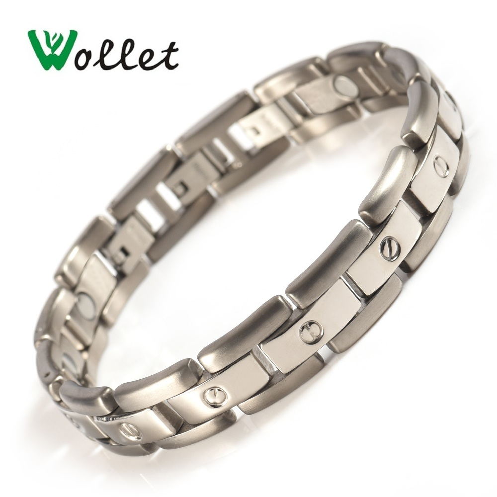 Wollet Jewelry Titanium Magnetic Bracelet For Men Women Health All Magnets Healing Energy Silver Color Metallic No Plating