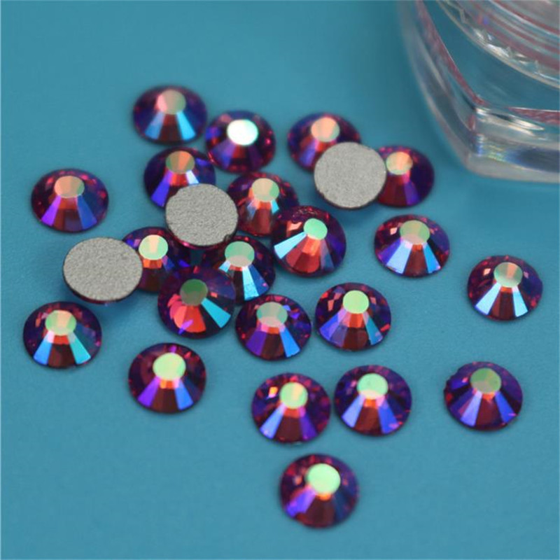 New SS3-SS34 Rose AB Non Hotfix Glass Crystal Flatback Rhinestones Nail Rhinestones For Nails 3D Nail Art Decoration Gems crystal ab rhinestones for nails design glass rhinestones on nails glass 3d strass nail art decoration gems manicure mjz1024