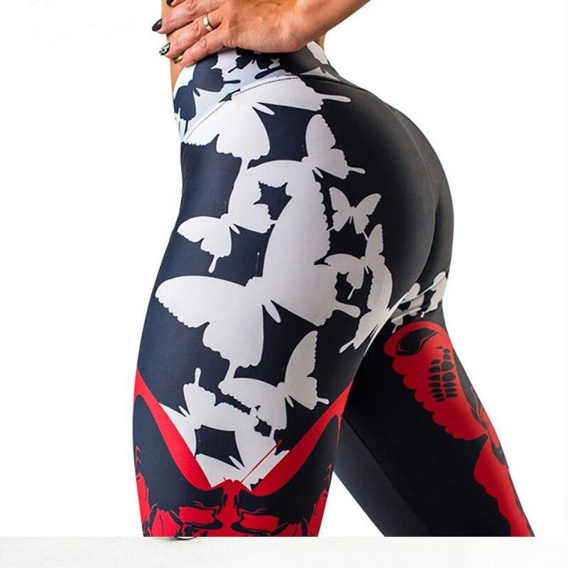 NORMOV New Women Fitness Leggings High Waist Push Up Seamless Ankle-Length Sexy Workout Leggings Butterfly Print Legging Femme