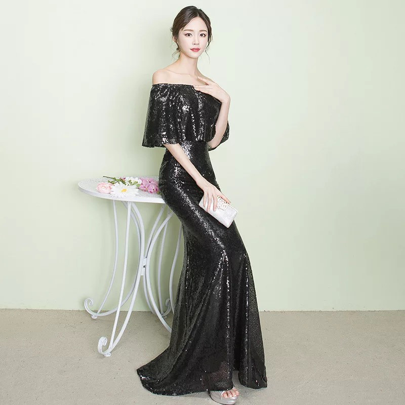 D008 ruffles neck off the shoulder floor length rose gold sequined dresses  IMG 2579 ... eb46b8e1382a