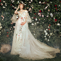SMDPPWDBB Maternity Photography Props Maternity Dresses Women Floral Long Dresses Plus Size Pregnancy Dresses Voile