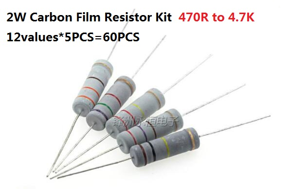 5 X 4.7K ohm 2W Metal Film Resistor 4.7K 2 Watt