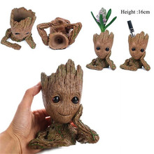 1PC Guardians of The Galaxy Flowerpot Pen Pot Baby Action Figures Cute Model Toy For Kids Home Decoration Best Christmas Gifts