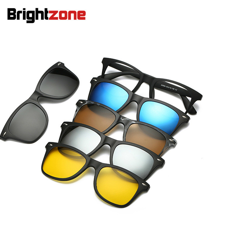 03a0df3fa7 Set Glasses One Frame Five Piece Clip-on Sunglasses SunShades Men Women  Magnet Stick Optical