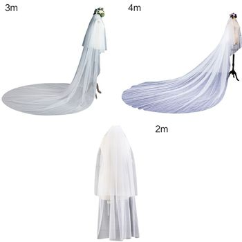 3 Size Double Layer Women Cathedral Wedding Headwear 2 Tier Simple European Solid Color Soft Tulle Drape Bridal  With Fixed Comb Bridal Headwear