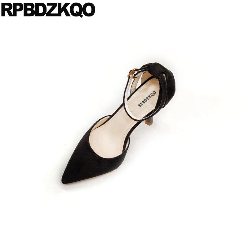 a205fd9af5 Stiletto sapatos de salto alto sandálias new cinza cinta dedo apontado  mulheres bombas 2018 sapatos de