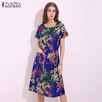 ZANZEA Women Dress Summer Vintage Floral Print Party Dresses Short Sleeve O Neck Casual Loose Vestidos