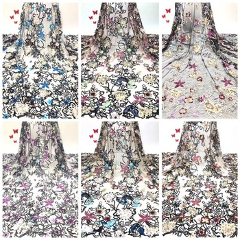 3d Flower Llace Fabrics African Tulle Lace Fabrics With Beads French Mesh Tulle Lace Fabric For Women Wedding Dress