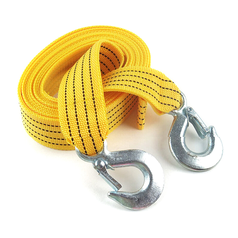 4m 3 Tons Car Tow Cable Towing Strap Rope With Hooks Emergency Heavy Duty More Solid Damping Fluorescent Color Safe at Night