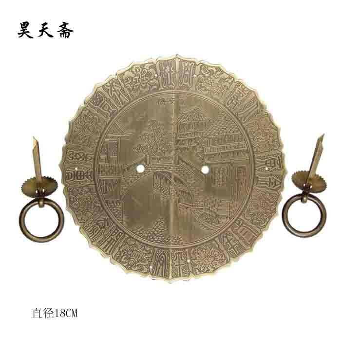 [Haotian végétarien] raccords de porte en laiton antique bronze porte chaussure HTB-312 poignée antique diamètre 18 CM - 4