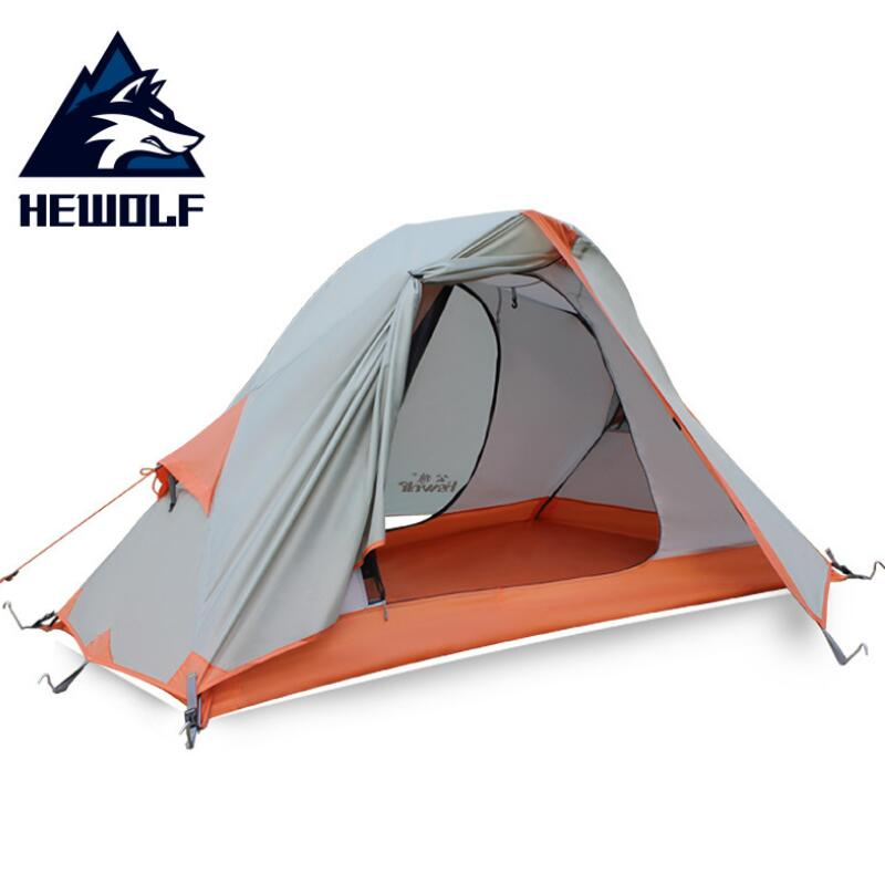 HEWOLF Cycling Hiking Waterproof 1 Person Tent Ultralight Double Layers Aluminum Rod Outdoor Camping Single Tents 4 Season