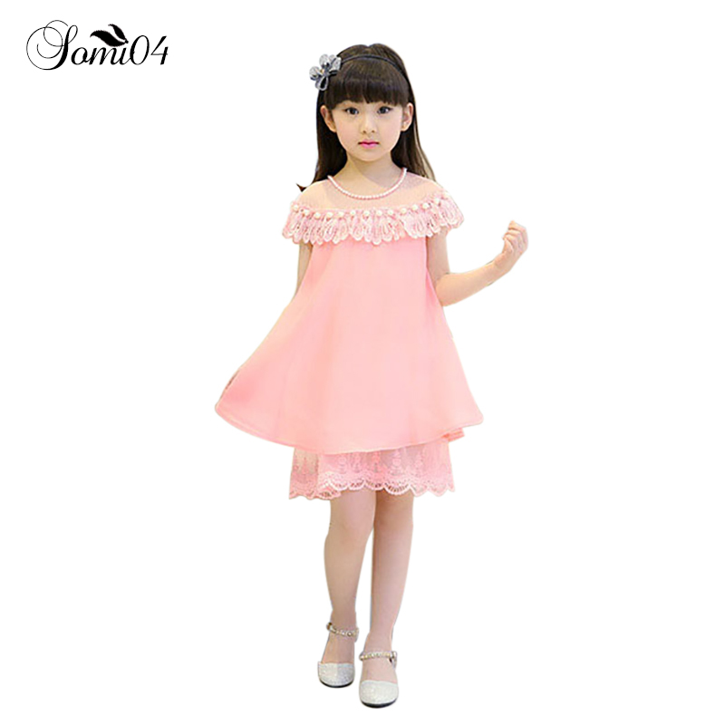 2017 New Summer Costume Girls Princess Dress Childrens Casual Clothing Kids Chiffon Pearl Lace Dresses Baby Girl Party Dresses