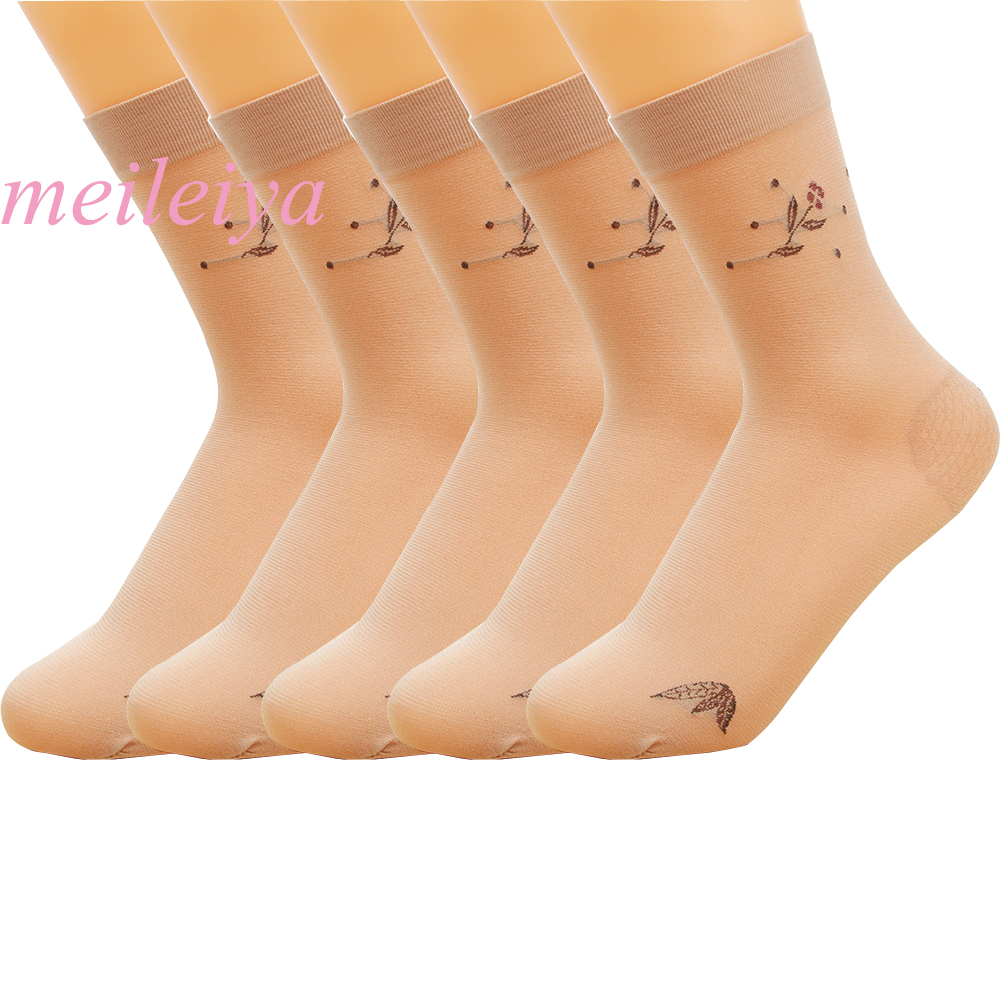 MEILEIYA 5 Pairs/bag New Hot High Quality Summer Lady Socks With Heel Protection No Hooks Rayon Socks Embroidery Patterns Socks
