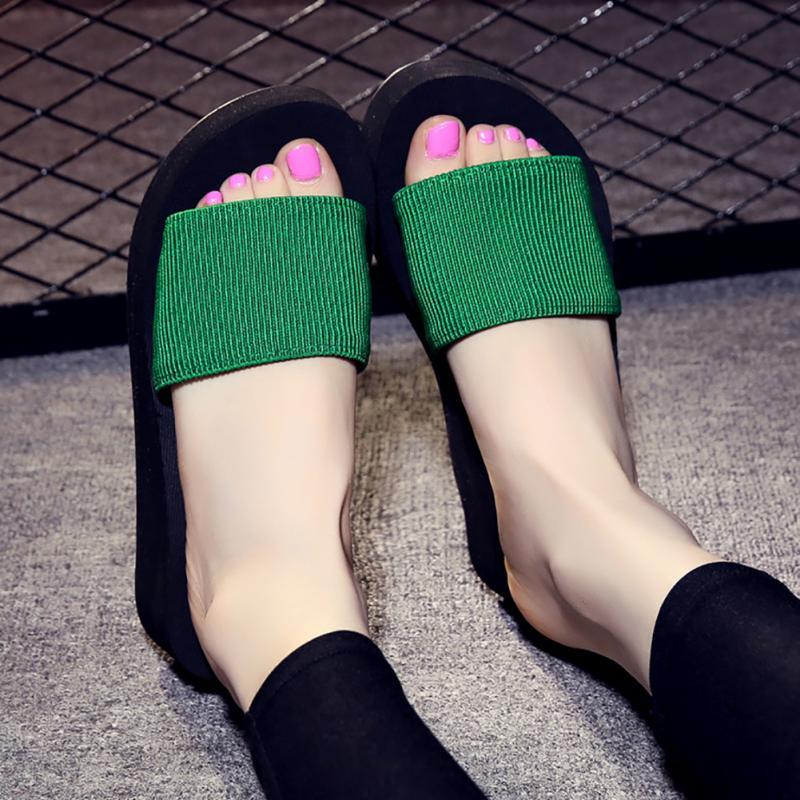 Platform bath slippers Wedge Beach Flip Flops High Heel Slippers For Women Brand Black EVA Ladies Shoes 3