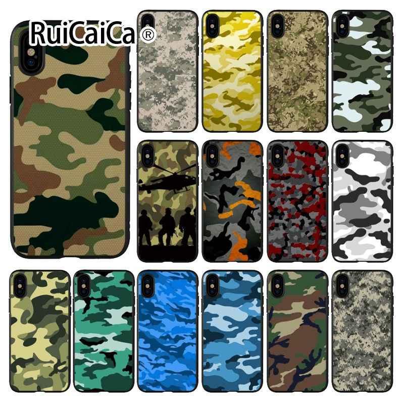 Ruicaica التمويه نمط كامو الجيش العسكرية الملونة لطيف جراب هاتف لابل آيفون 8 7 6 6S زائد X XS ماكس 5 5s SE XR غطاء