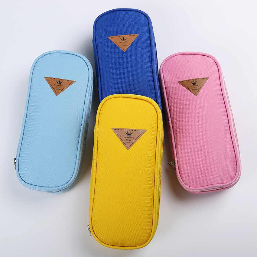 1 шт. в Корейском стиле, яркий цвет, лаконичный пенал из ткани, органайзер для хранения, сумка, школьные принадлежности, школьные канцелярские принадлежности