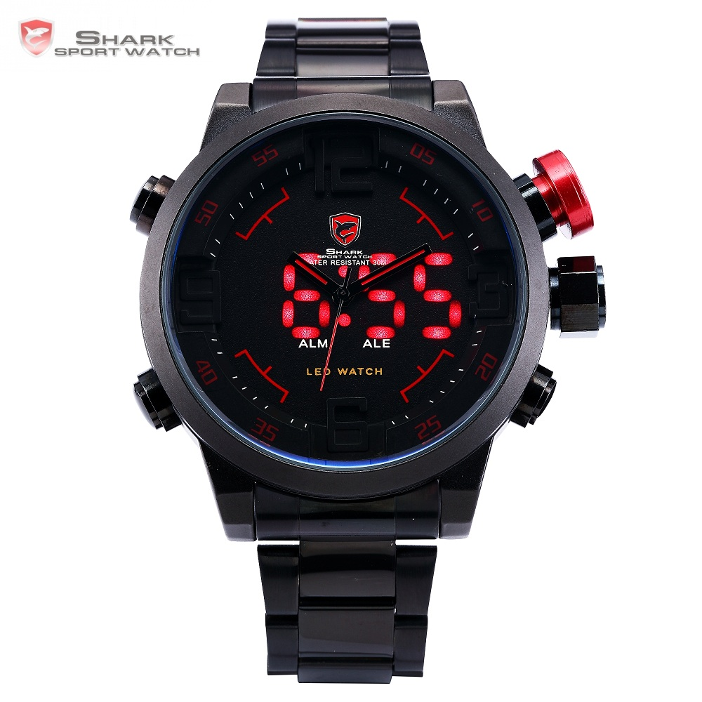 Gulper SHARK Sport Watch Digital LED Mężczyźni Top Marka Luxury Black Red Kalendarz Steel Band Wrist Zegarki kwarcowe Reloj Hombre / SH105