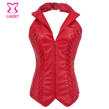 Corzzet Red Faux Leather Collar Steampunk Overbust Lace Up Corsets And Bustiers Waist Slimming Plus Size Sexy Gothic Corset
