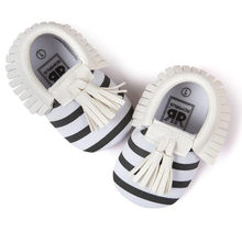 Baby Crib Tassels Bowknot Shoes Toddler Sneakers Casual Shoes Spring Striped Kids Sneakers Breathable Children Shoes(China)