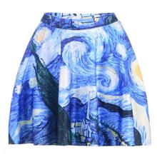 Blue Oil Painting Women Sexy Pleated Skirts Tennis Bowling Bust Shorts Skirts Geometry Sky Lady Fitness Sport Apparel A Style