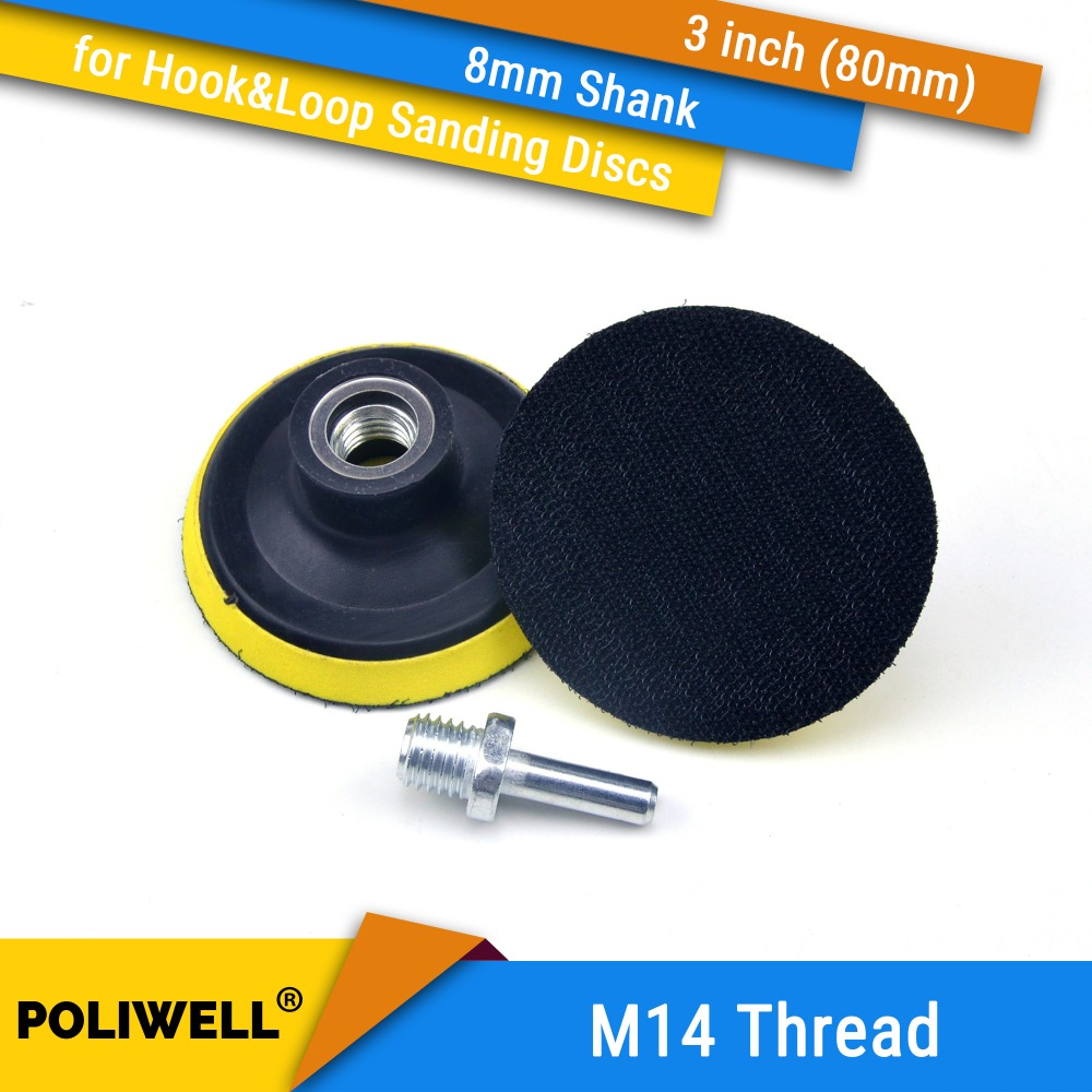 3 Inch(80mm) M14 Thread Back-up Sanding Pad + 8mm Shank For 3