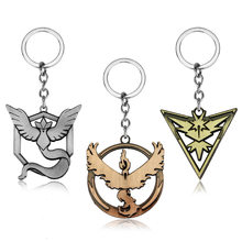 New Pokemon Go Tag keychain Game Anime cartoon Pendant key chains Team Valor Mystic Instinct Logo Bead Chain Women And Men Fans(China)