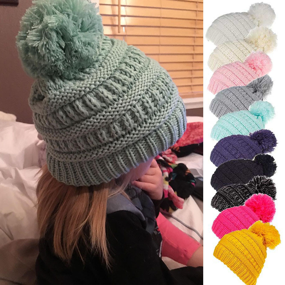 2ebaf628c Big Sale] Beanies Baby Hat Winter Hat Kids Girls Boys Solid Caps ...