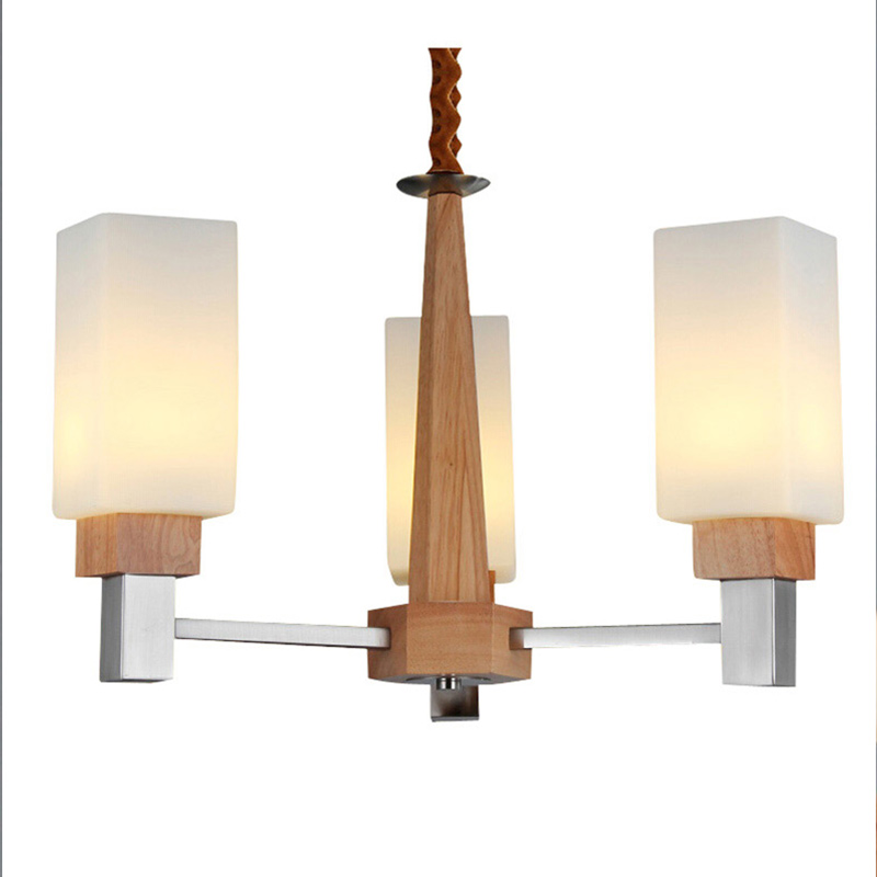 Three/Five Head Novelty Pendant Lamps Wood Parlor Lighting Fixtures Study Room Suspension Lamps Living Room 220V D62