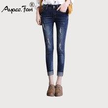 Nueva Delgado Mediados de cintura Skinny Jeans Mujer puños Vintage Negro Azul  tobillo-longitud lápiz Pantalones mujer pantalones. a52f88a8df29