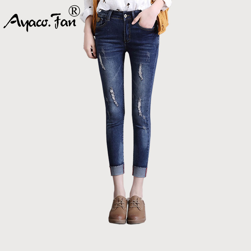 New Slim Mid Waist Skinny   Jeans   Female Cuffs Vintage Black Blue Ankle-Length Pencil Pants Women   Jeans   Plus Size 26-34 for Summer