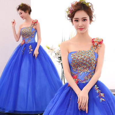 Freeship blue purple/orange/blue peacock beading ball gown medieval dress Renaissance Gown queen dress Victorian Belle ball