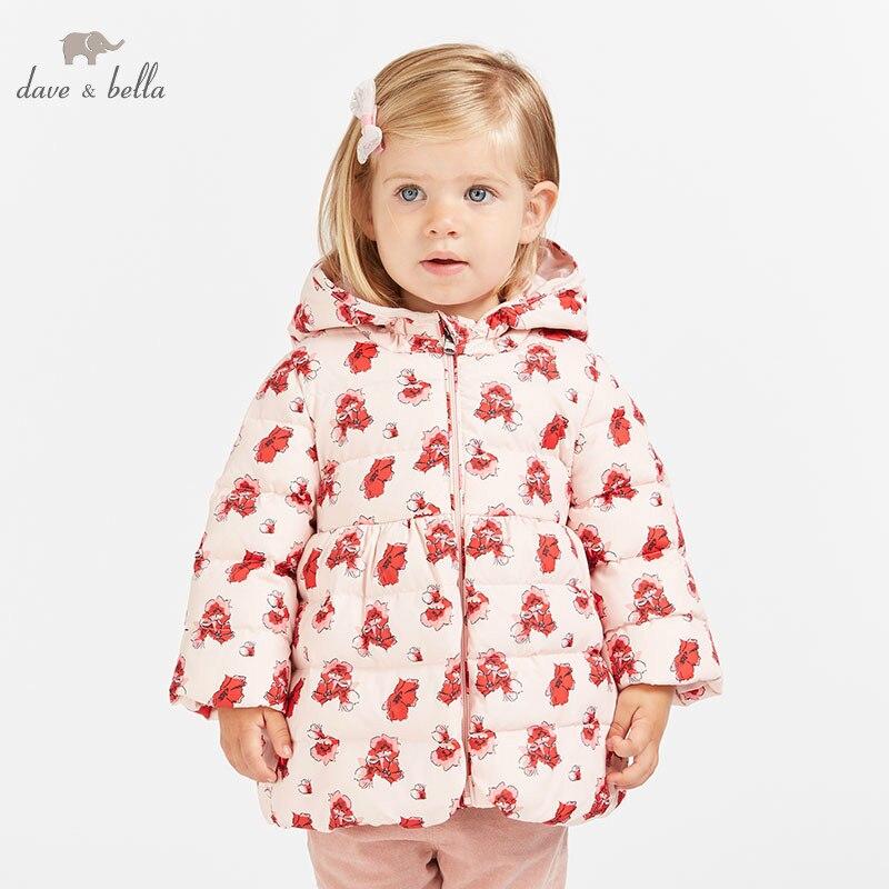 DB8644 dave bella baby girls winter Down jacket children 90% white duck down outerwear fashion pink coat цена 2017