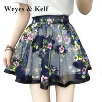 Weyes & Kelf весенние сетчатые мини юбки с цветочным принтом для женщин 2018 летняя эластичная короткая складчатая юбка с высокой талией Женская Ч