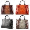 Jacaré mulheres sacos de ombro saco totes bolsas femininas de grande capacidade duplo zíper couro genuíno crocodilo padrões HB0095