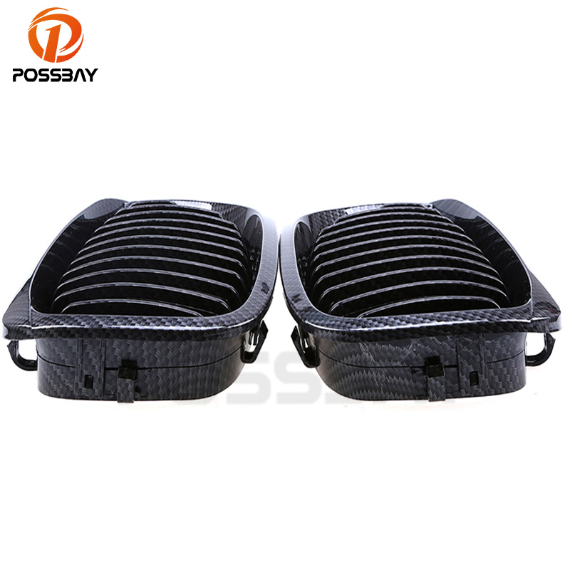 POSSBA Auto Car Front Kidney Grille Imitation Carbon Fiber Grilles For BMW 3-Series E46 Cabrio 2003-2006 Facelift Car Accessorie for bmw e53 x5 2004 2006 4dr lci facelift car front grille grills car styling covers grilles