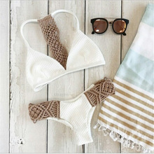 цена на Thong Bikinis 2019 Woman Mesh Breathable Crochet Separate Swimsuit Female Off The Shoulder Cut Out Patchwork Two Piece Swimwear
