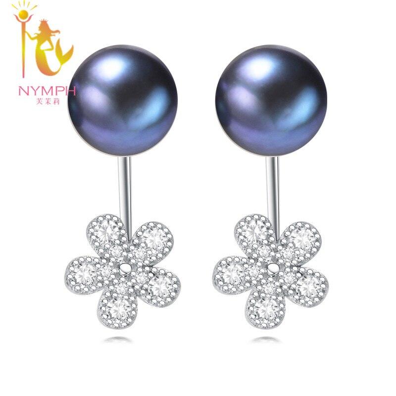 9bbb45888085  Nymph  perla Pendientes joyería de perlas de doble perla de agua dulce  natural Pendientes para las mujeres Flor  e1055