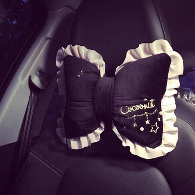 Cute Car Headrest Neck Pillow Seat Belt Cover Waist Support Lady Velvet Lace bowknot Car Pillows For Women Girls Car Accessories