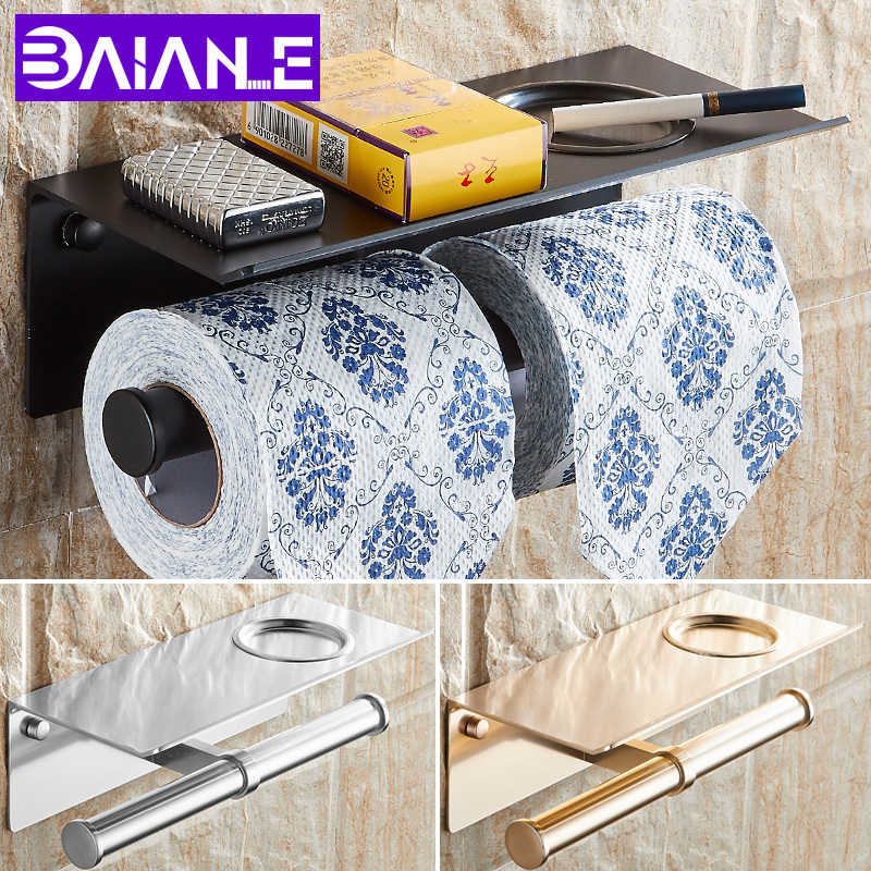 BAIANLE حامل ورق المرحاض الحمام مع السنانير الجرف الإبداعية الأسود منشفة ورقية رف الحائط إطالة الذهب لفة ورقة الرف